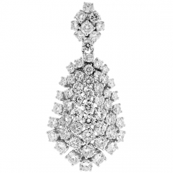 18K White Gold 8.16 ct Diamond Cluster Womens Pendant