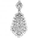18K White Gold 8.16 ct Diamond Cluster Womens Pendant