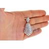 Womens Diamond Cluster Drop Pendant 18K White Gold 8.16 ct