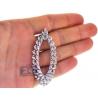 "Womens Diamond Oval Floral Pendant 18K White Gold 4.13 ct 2.75"""