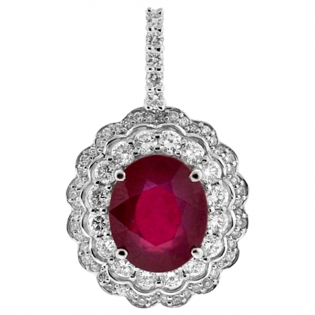 Womens Ruby Diamond Drop Flower Pendant 18K White Gold 8.75 ct