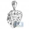 Womens Diamond Openwork Heart Pendant 18K White Gold 0.72ct