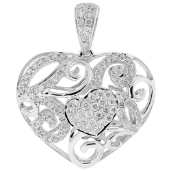 Womens Diamond Filigree Heart Love Pendant 18K White Gold 0.81ct