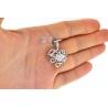 Womens Diamond Filigree Heart Love Pendant 18K White Gold 0.81ct