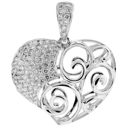 Womens Diamond Filigree Heart Pendant 18K White Gold 0.76ct