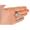 Womens Diamond Filigree Heart Pendant 18K White Gold 0.76ct