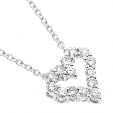"""Womens Diamond Small Heart Necklace 18K White Gold 0.75ct 18"""""""