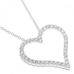 18K White Gold 2.06 ct Diamond Heart Womens Necklace 18 Inches