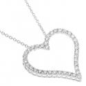 18K White Gold 2.06 ct Diamond Heart Pendant Necklace 18 inch