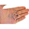 "Womens Diamond Heart Pendant Necklace 18K White Gold 2.06ct 18"""