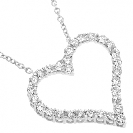 Womens Diamond Heart Pendant Necklace 18K White Gold 1.64ct 18""