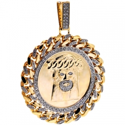 Mens Diamond Jesus Christ Round Pendant 10K Yellow Gold 2.75 ct