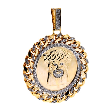 Mens Diamond Jesus Christ Round Pendant 10K Yellow Gold 2.75 ct