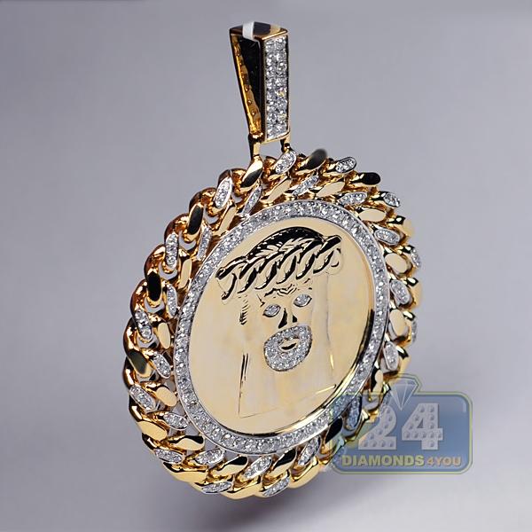 Mens Diamond Pendant Necklace Mens diamond jesus christ round pendant 10k yellow gold 275 ct audiocablefo