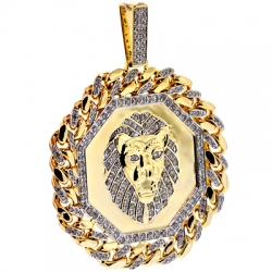 10K Yellow Gold 3.63 ct Diamond Framed Lion Mens Pendant