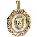 10K Yellow Gold 3.63 ct Diamond Framed Lion Mens Pendant