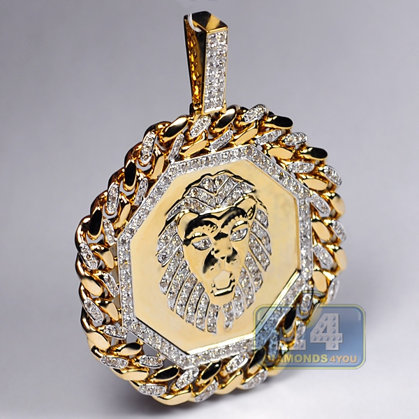 Mens diamond framed lion head pendant 10k yellow gold 363 ct aloadofball Image collections