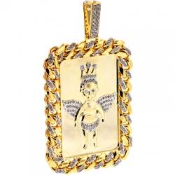 10K Yellow Gold 1.81 ct Diamond Frame Angel Mens Pendant