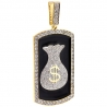 Mens Diamond Money Bag Framed Pendant 10K Yellow Gold 5.05 ct