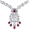 18K White Gold 9.42 ct Ruby Diamond Womens Necklace 18 Inches