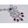 """Womens Ruby Diamond Vintage Necklace 18K White Gold 9.42ct 18"""""""