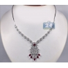 Womens Ruby Diamond Vintage Necklace 18K White Gold 9.42ct 18""