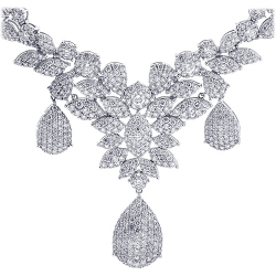 Womens Diamond Flower Drop Necklace 18K White Gold 15.53ct 18""