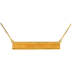 Solid 18K Yellow Gold Engravable ID Name Womens Necklace 18""