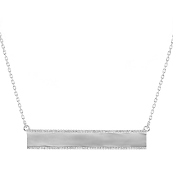 Womens Diamond ID Name Bar Necklace 18K White Gold 0.45ct 18""
