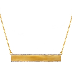 Womens Diamond ID Name Bar Necklace 18K Yellow Gold 0.45ct 18""