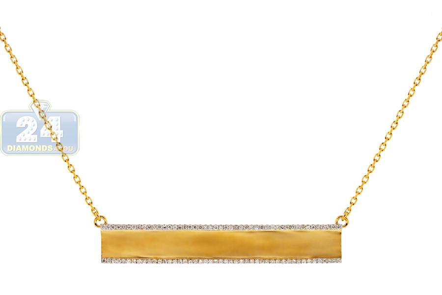 64ed8f0aa Womens Diamond ID Name Bar Necklace 18K Yellow Gold 0.45ct 18