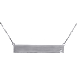 18K White Gold Bezel Set Diamond Womens ID Name Necklace 18""