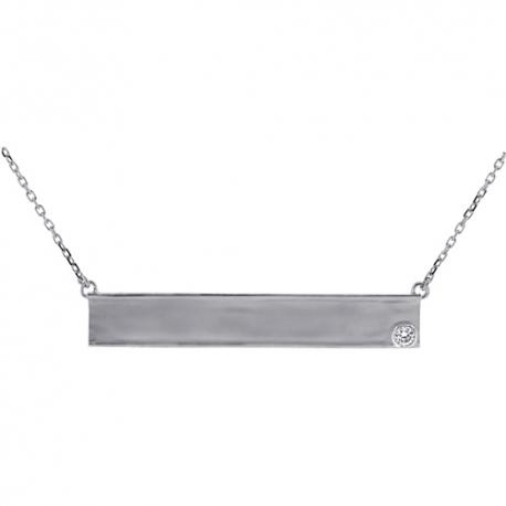"18K White Gold Bezel Set Diamond Womens ID Name Necklace 18"""