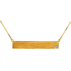 18K Yellow Gold Diamond ID Plate Womens Necklace 18 Inches