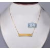 "18K Yellow Gold Bezel Set Diamond Womens ID Name Necklace 18"""