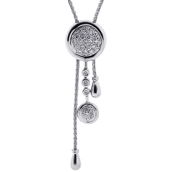 18K White Gold Diamond Lariat Adjustable Womens Necklace