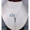 Womens Diamond Adjustable Lariat Necklace 18K White Gold