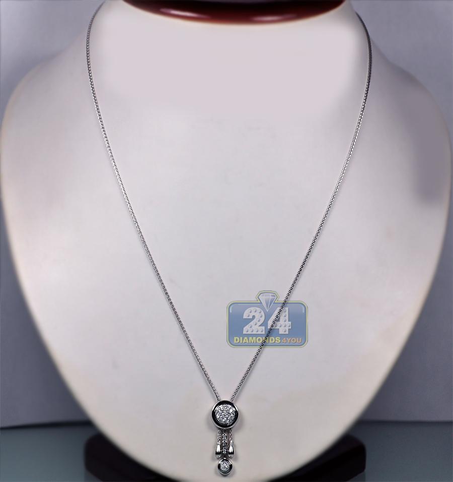 d4b29d159 Womens Diamond Adjustable Lariat Necklace 18K White Gold