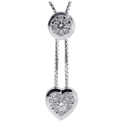 Womens Diamond Heart Adjustable Necklace 18K White Gold 0.60ct
