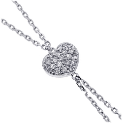 Womens Diamond Heart Lariat Necklace 18K White Gold 0.25ct 17""