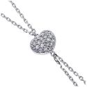 18K White Gold 0.25 ct Diamond Heart Womens Lariat Necklace