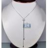 "Womens Diamond Heart Lariat Necklace 18K White Gold 0.25ct 17"""