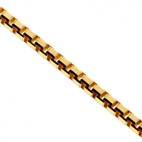 14K Yellow Gold Square Box Solid Link Mens Chain 1.2 mm