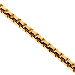 Italian 14K Yellow Gold Solid Square Box Mens Chain 1.8mm