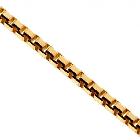 Italian 14K Yellow Gold Solid Square Box Mens Chain 1.8mm