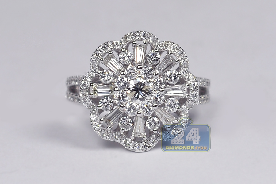 Ct White Gold Cluster Diamond Ring