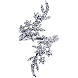 14K White Gold 0.95 ct Diamond Womens Floral Bypass Ring