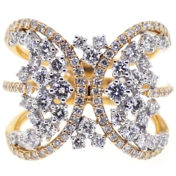 14K Yellow Gold 1.87 ct Diamond Womens Abstract Ring
