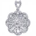 18K White Gold 1.35 ct Diamond Womens Cluster Pendant