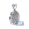 Womens Diamond Cluster Flower Pendant 18K White Gold 1.35ct